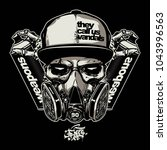 skull wearing gas mask for...