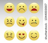 set of smile icons. emoji.... | Shutterstock .eps vector #1044003007