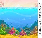 cartoon underwater background....   Shutterstock .eps vector #1044022507