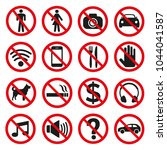 prohibition signs set safety on ...   Shutterstock .eps vector #1044041587