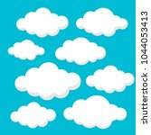 clouds set isolated on blue... | Shutterstock .eps vector #1044053413