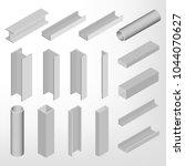 steel beam isolated on white... | Shutterstock .eps vector #1044070627