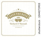 wedding save the date... | Shutterstock .eps vector #1044073903
