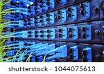 close up fiber optic in server... | Shutterstock . vector #1044075613
