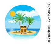pirates treasure island with... | Shutterstock .eps vector #1044081343