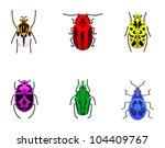 a set of beetles. | Shutterstock .eps vector #104409767