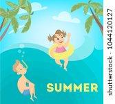 children in sea on summer...   Shutterstock .eps vector #1044120127