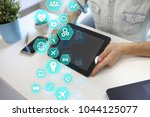virtual screen business... | Shutterstock . vector #1044125077