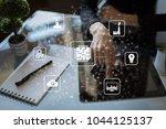 microchip  cpu  processor ... | Shutterstock . vector #1044125137