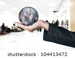Human Resources concept / hand choosing employees options - stock photo
