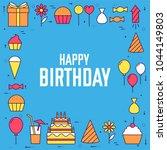 flat happy birthday festive... | Shutterstock .eps vector #1044149803