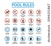 swimming pool rules. public and ... | Shutterstock .eps vector #1044151867