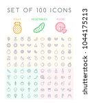 set of 100 isolated minimal... | Shutterstock .eps vector #1044175213