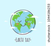earth day. smiling cartoon... | Shutterstock .eps vector #1044186253