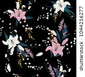 trendy  dark floral pattern in... | Shutterstock .eps vector #1044216277