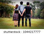 love triangle. young woman in...   Shutterstock . vector #1044217777