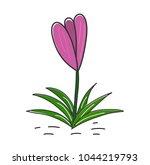 purple crocus flower icon.... | Shutterstock .eps vector #1044219793