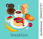 isometric concept of pancakes... | Shutterstock .eps vector #1044222757