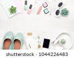 summer street style. fashion... | Shutterstock . vector #1044226483