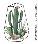 watercolor composition of cacti ... | Shutterstock . vector #1044233893