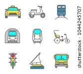 public transport color icons... | Shutterstock .eps vector #1044245707