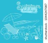 set of beach summer holidays... | Shutterstock .eps vector #1044247087