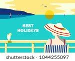 summer seaside landscape. blue... | Shutterstock .eps vector #1044255097