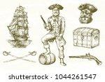 pirate  hand drawn set. | Shutterstock .eps vector #1044261547