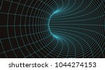 3d tunnel grid.wireframe 3d...   Shutterstock .eps vector #1044274153