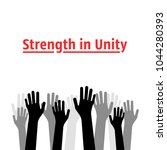 strength in unity with many... | Shutterstock .eps vector #1044280393