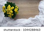 Small photo of on a wooden background flower yellow color kalandive raster tablecloth easy twain white