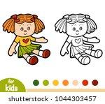 coloring book for children  doll | Shutterstock .eps vector #1044303457