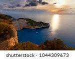 navagio beach with sailboat in... | Shutterstock . vector #1044309673