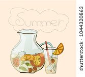 jar and glass of lemonade with... | Shutterstock .eps vector #1044320863