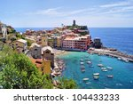 View over the Cinque Terre village of Vernazza, Italy - stock photo