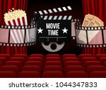 movie theater with row of red... | Shutterstock .eps vector #1044347833