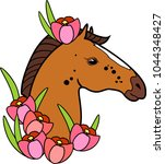 brown horse head with pink... | Shutterstock .eps vector #1044348427