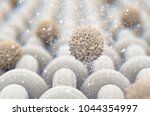 A microscopic close up view of a simple woven textile and a visible brown dirt particle  - 3D render