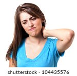 young woman holding her neck in pain and discomfort - stock photo