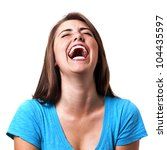 Pretty girl laughing hysterically - stock photo
