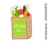vector eco badge or tag  bio... | Shutterstock .eps vector #1044364873