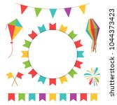 garland with colorful flags.... | Shutterstock .eps vector #1044373423