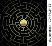 concept gold bitcoin in a... | Shutterstock . vector #1044415453