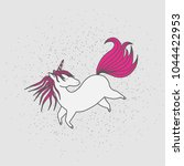 cute magical unicorn. hand... | Shutterstock .eps vector #1044422953