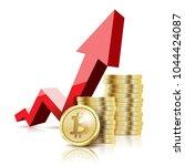 illustration of gold bitcoin... | Shutterstock . vector #1044424087