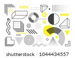Universal trend halftone geometric shapes set juxtaposed with bright bold yellow elements composition. Design elements for Magazine, leaflet, billboard, sale | Shutterstock vector #1044434557