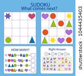 sudoku for kids. find the next... | Shutterstock .eps vector #1044435403