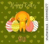 greeting cards with cute easter ... | Shutterstock .eps vector #1044440377