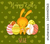 greeting cards with cute easter ... | Shutterstock .eps vector #1044440563