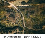 overhead view of a curved... | Shutterstock . vector #1044453373